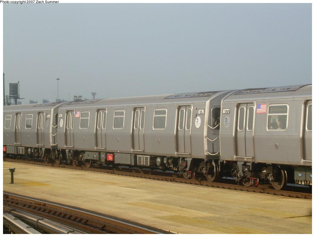 (154k, 1044x788)<br><b>Country:</b> United States<br><b>City:</b> New York<br><b>System:</b> New York City Transit<br><b>Location:</b> Coney Island/Stillwell Avenue<br><b>Route:</b> N<br><b>Car:</b> R-160B (Kawasaki, 2005-2008)  8776 <br><b>Photo by:</b> Zach Summer<br><b>Date:</b> 8/25/2007<br><b>Viewed (this week/total):</b> 0 / 2571