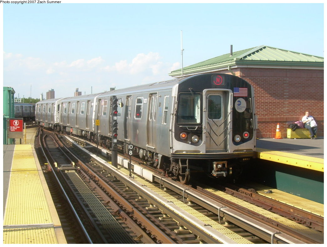 (220k, 1044x788)<br><b>Country:</b> United States<br><b>City:</b> New York<br><b>System:</b> New York City Transit<br><b>Location:</b> Coney Island/Stillwell Avenue<br><b>Route:</b> N<br><b>Car:</b> R-160B (Kawasaki, 2005-2008)  8737 <br><b>Photo by:</b> Zach Summer<br><b>Date:</b> 8/27/2007<br><b>Viewed (this week/total):</b> 0 / 1988