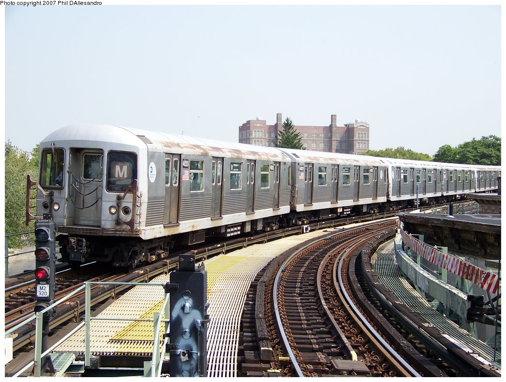 (226k, 1044x788)<br><b>Country:</b> United States<br><b>City:</b> New York<br><b>System:</b> New York City Transit<br><b>Line:</b> BMT Myrtle Avenue Line<br><b>Location:</b> Seneca Avenue <br><b>Route:</b> M<br><b>Car:</b> R-42 (St. Louis, 1969-1970)  4820 <br><b>Photo by:</b> Philip D'Allesandro<br><b>Date:</b> 8/30/2007<br><b>Viewed (this week/total):</b> 0 / 1768