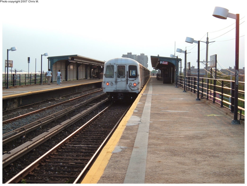 (186k, 1044x788)<br><b>Country:</b> United States<br><b>City:</b> New York<br><b>System:</b> New York City Transit<br><b>Line:</b> IND Rockaway<br><b>Location:</b> Beach 44th Street/Frank Avenue <br><b>Route:</b> A<br><b>Car:</b> R-44 (St. Louis, 1971-73)  <br><b>Photo by:</b> Chris M.<br><b>Date:</b> 8/31/2007<br><b>Viewed (this week/total):</b> 1 / 1225