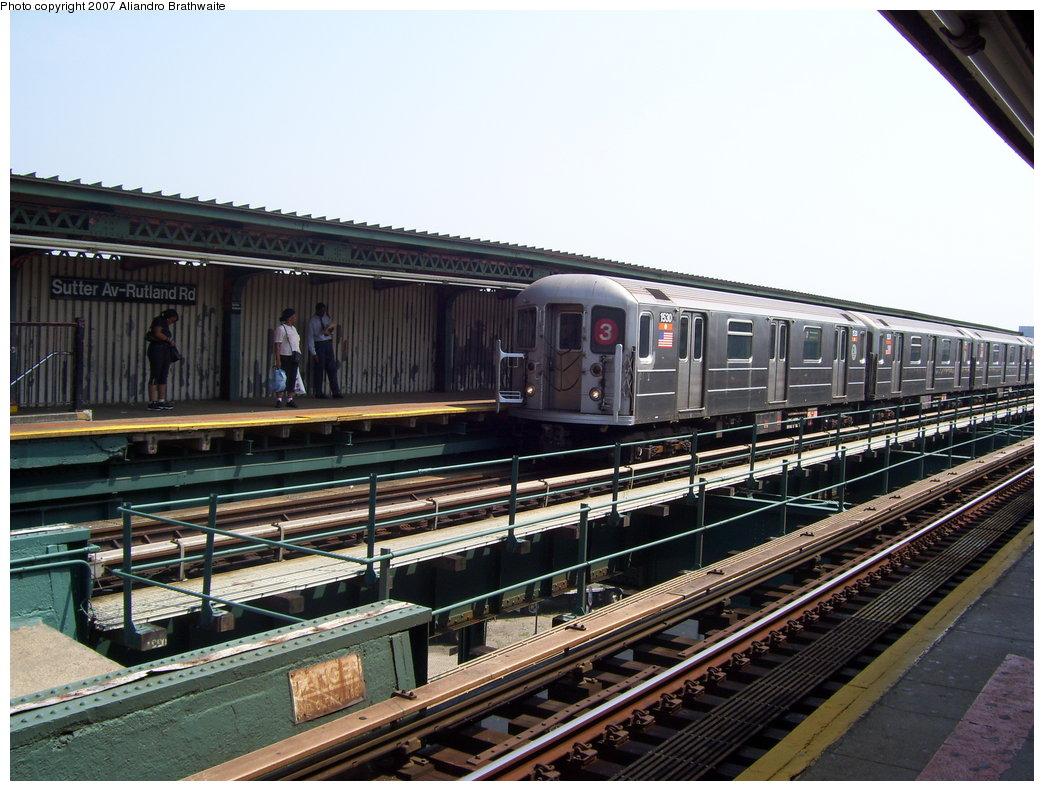 (206k, 1044x791)<br><b>Country:</b> United States<br><b>City:</b> New York<br><b>System:</b> New York City Transit<br><b>Line:</b> IRT Brooklyn Line<br><b>Location:</b> Sutter Avenue/Rutland Road <br><b>Route:</b> 3<br><b>Car:</b> R-62 (Kawasaki, 1983-1985)  1530 <br><b>Photo by:</b> Aliandro Brathwaite<br><b>Date:</b> 8/30/2007<br><b>Viewed (this week/total):</b> 0 / 2080