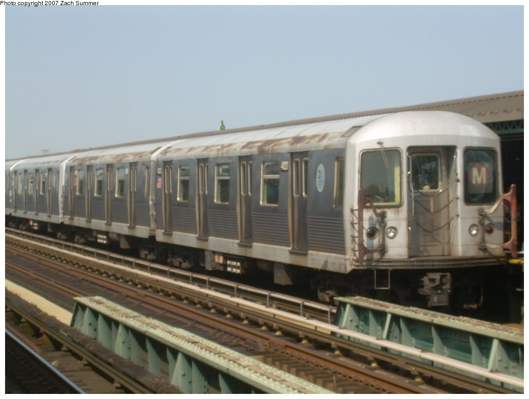 (157k, 1044x788)<br><b>Country:</b> United States<br><b>City:</b> New York<br><b>System:</b> New York City Transit<br><b>Line:</b> BMT West End Line<br><b>Location:</b> 71st Street <br><b>Route:</b> M<br><b>Car:</b> R-42 (St. Louis, 1969-1970)  4820 <br><b>Photo by:</b> Zach Summer<br><b>Date:</b> 8/29/2007<br><b>Viewed (this week/total):</b> 2 / 1572