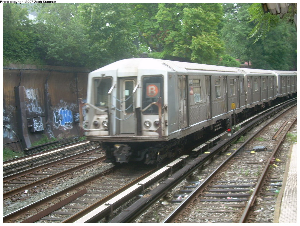 (245k, 1044x788)<br><b>Country:</b> United States<br><b>City:</b> New York<br><b>System:</b> New York City Transit<br><b>Line:</b> BMT Brighton Line<br><b>Location:</b> Beverley Road <br><b>Route:</b> B<br><b>Car:</b> R-40 (St. Louis, 1968)  4443 <br><b>Photo by:</b> Zach Summer<br><b>Date:</b> 8/31/2007<br><b>Viewed (this week/total):</b> 1 / 2520