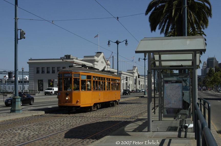 (170k, 864x570)<br><b>Country:</b> United States<br><b>City:</b> San Francisco/Bay Area, CA<br><b>System:</b> SF MUNI<br><b>Location:</b> Embarcadero/Broadway <br><b>Car:</b> Milan Milano/Peter Witt (1927-1930)  1807 <br><b>Photo by:</b> Peter Ehrlich<br><b>Date:</b> 8/22/2007<br><b>Notes:</b> Approaching Embarcadero/Broadway inbound.<br><b>Viewed (this week/total):</b> 1 / 552