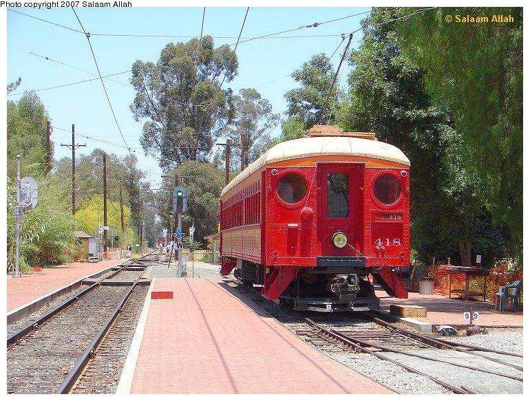 (186k, 770x583)<br><b>Country:</b> United States<br><b>City:</b> Perris, CA<br><b>System:</b> Orange Empire Railway Museum <br><b>Car:</b> Pacific Electric Blimp Interurban (Pullman, 1913)  418 <br><b>Photo by:</b> Salaam Allah<br><b>Date:</b> 4/5/2006<br><b>Viewed (this week/total):</b> 2 / 966