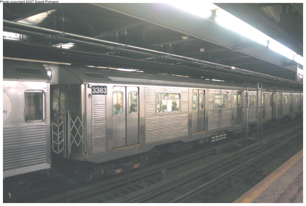 (183k, 1044x701)<br><b>Country:</b> United States<br><b>City:</b> New York<br><b>System:</b> New York City Transit<br><b>Line:</b> IND 8th Avenue Line<br><b>Location:</b> 181st Street <br><b>Route:</b> A<br><b>Car:</b> R-32 (Budd, 1964)  3383 <br><b>Photo by:</b> David Pirmann<br><b>Date:</b> 9/10/2007<br><b>Viewed (this week/total):</b> 2 / 2647