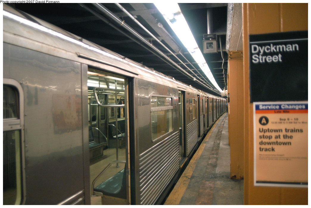 (206k, 1044x701)<br><b>Country:</b> United States<br><b>City:</b> New York<br><b>System:</b> New York City Transit<br><b>Line:</b> IND 8th Avenue Line<br><b>Location:</b> Dyckman Street/200th Street <br><b>Route:</b> A<br><b>Car:</b> R-38 (St. Louis, 1966-1967)  4116 <br><b>Photo by:</b> David Pirmann<br><b>Date:</b> 9/10/2007<br><b>Viewed (this week/total):</b> 1 / 3659