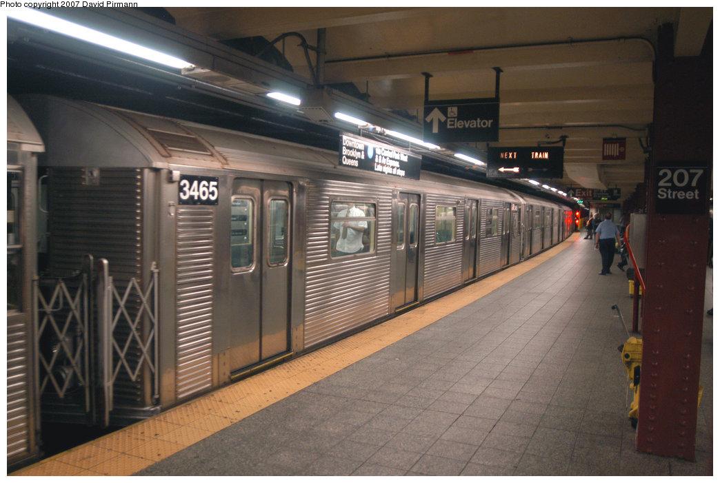 (199k, 1044x701)<br><b>Country:</b> United States<br><b>City:</b> New York<br><b>System:</b> New York City Transit<br><b>Line:</b> IND 8th Avenue Line<br><b>Location:</b> 207th Street <br><b>Route:</b> A<br><b>Car:</b> R-32 (Budd, 1964)  3465 <br><b>Photo by:</b> David Pirmann<br><b>Date:</b> 9/10/2007<br><b>Viewed (this week/total):</b> 1 / 1169