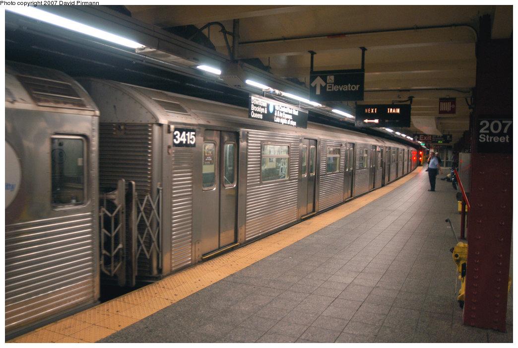 (206k, 1044x701)<br><b>Country:</b> United States<br><b>City:</b> New York<br><b>System:</b> New York City Transit<br><b>Line:</b> IND 8th Avenue Line<br><b>Location:</b> 207th Street <br><b>Route:</b> A<br><b>Car:</b> R-32 (Budd, 1964)  3415 <br><b>Photo by:</b> David Pirmann<br><b>Date:</b> 9/10/2007<br><b>Viewed (this week/total):</b> 2 / 1325