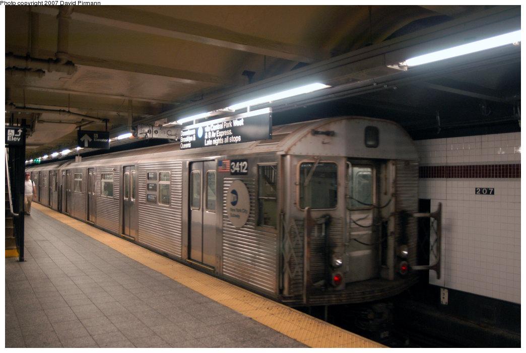 (178k, 1044x701)<br><b>Country:</b> United States<br><b>City:</b> New York<br><b>System:</b> New York City Transit<br><b>Line:</b> IND 8th Avenue Line<br><b>Location:</b> 207th Street <br><b>Route:</b> A<br><b>Car:</b> R-32 (Budd, 1964)  3412 <br><b>Photo by:</b> David Pirmann<br><b>Date:</b> 9/10/2007<br><b>Viewed (this week/total):</b> 0 / 1634
