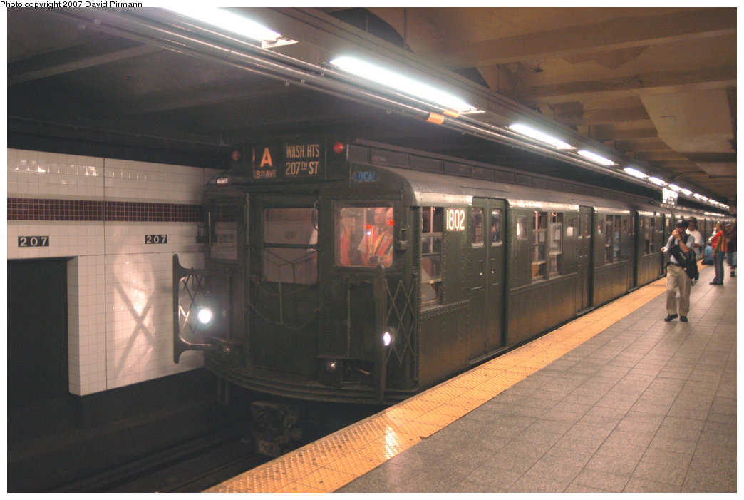 (191k, 1044x701)<br><b>Country:</b> United States<br><b>City:</b> New York<br><b>System:</b> New York City Transit<br><b>Line:</b> IND 8th Avenue Line<br><b>Location:</b> 207th Street <br><b>Route:</b> Fan Trip<br><b>Car:</b> R-9 (Pressed Steel, 1940)  1802 <br><b>Photo by:</b> David Pirmann<br><b>Date:</b> 9/10/2007<br><b>Notes:</b> Train in regular service for the 75th Anniversary of the opening of the A line (technically not a fantrip).<br><b>Viewed (this week/total):</b> 1 / 2006