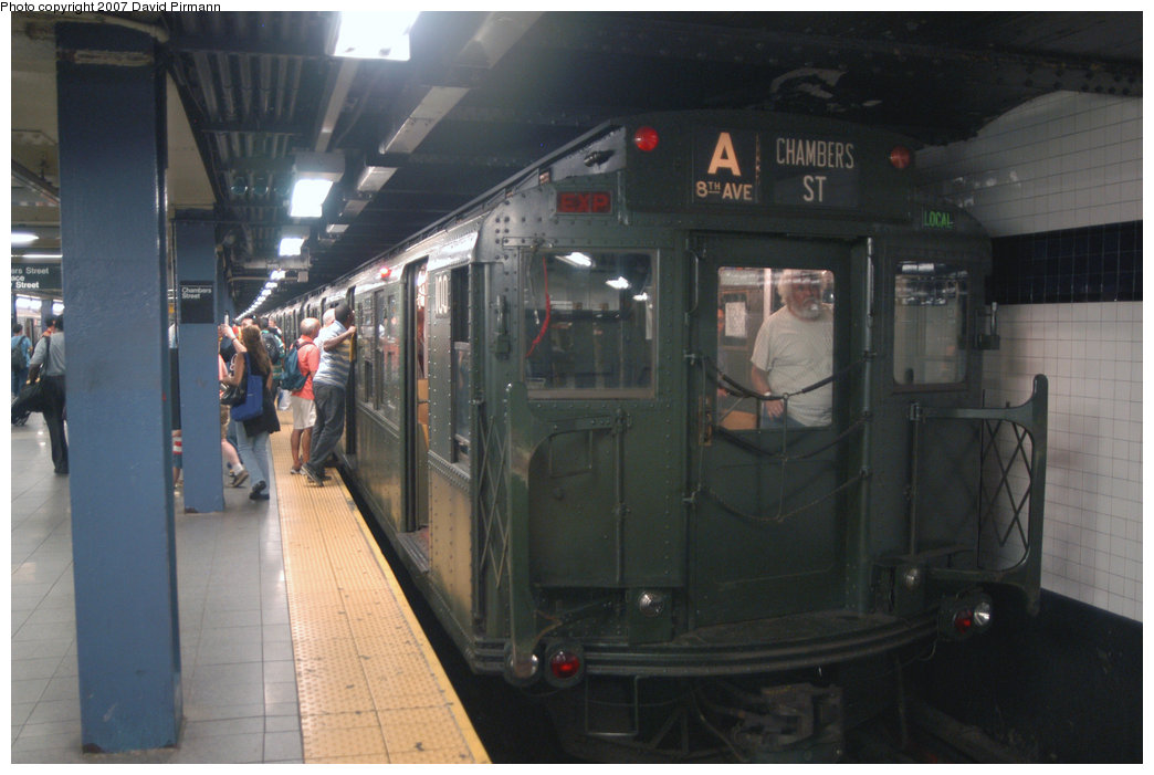 (169k, 1044x701)<br><b>Country:</b> United States<br><b>City:</b> New York<br><b>System:</b> New York City Transit<br><b>Line:</b> IND 8th Avenue Line<br><b>Location:</b> Chambers Street/World Trade Center <br><b>Route:</b> Fan Trip<br><b>Car:</b> R-1 (American Car & Foundry, 1930-1931) 100 <br><b>Photo by:</b> David Pirmann<br><b>Date:</b> 9/10/2007<br><b>Notes:</b> Train in regular service for the 75th Anniversary of the opening of the A line (technically not a fantrip).<br><b>Viewed (this week/total):</b> 0 / 2305