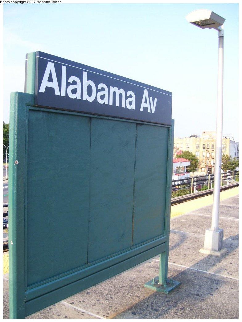 (136k, 785x1045)<br><b>Country:</b> United States<br><b>City:</b> New York<br><b>System:</b> New York City Transit<br><b>Line:</b> BMT Nassau Street/Jamaica Line<br><b>Location:</b> Alabama Avenue <br><b>Photo by:</b> Roberto C. Tobar<br><b>Date:</b> 9/8/2007<br><b>Viewed (this week/total):</b> 0 / 1155
