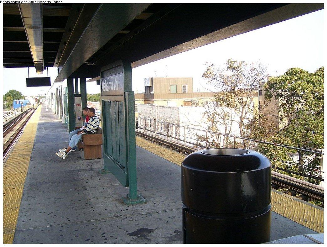 (225k, 1044x788)<br><b>Country:</b> United States<br><b>City:</b> New York<br><b>System:</b> New York City Transit<br><b>Line:</b> BMT Nassau Street/Jamaica Line<br><b>Location:</b> Alabama Avenue <br><b>Photo by:</b> Roberto C. Tobar<br><b>Date:</b> 9/8/2007<br><b>Viewed (this week/total):</b> 1 / 1547