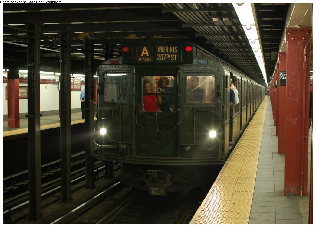 (198k, 1044x751)<br><b>Country:</b> United States<br><b>City:</b> New York<br><b>System:</b> New York City Transit<br><b>Line:</b> IND 8th Avenue Line<br><b>Location:</b> 34th Street/Penn Station <br><b>Route:</b> Fan Trip<br><b>Car:</b> R-9 (Pressed Steel, 1940)  1802 <br><b>Photo by:</b> Brian Weinberg<br><b>Date:</b> 9/10/2007<br><b>Notes:</b> Train in regular service for the 75th Anniversary of the opening of the A line (technically not a fantrip).<br><b>Viewed (this week/total):</b> 1 / 2412