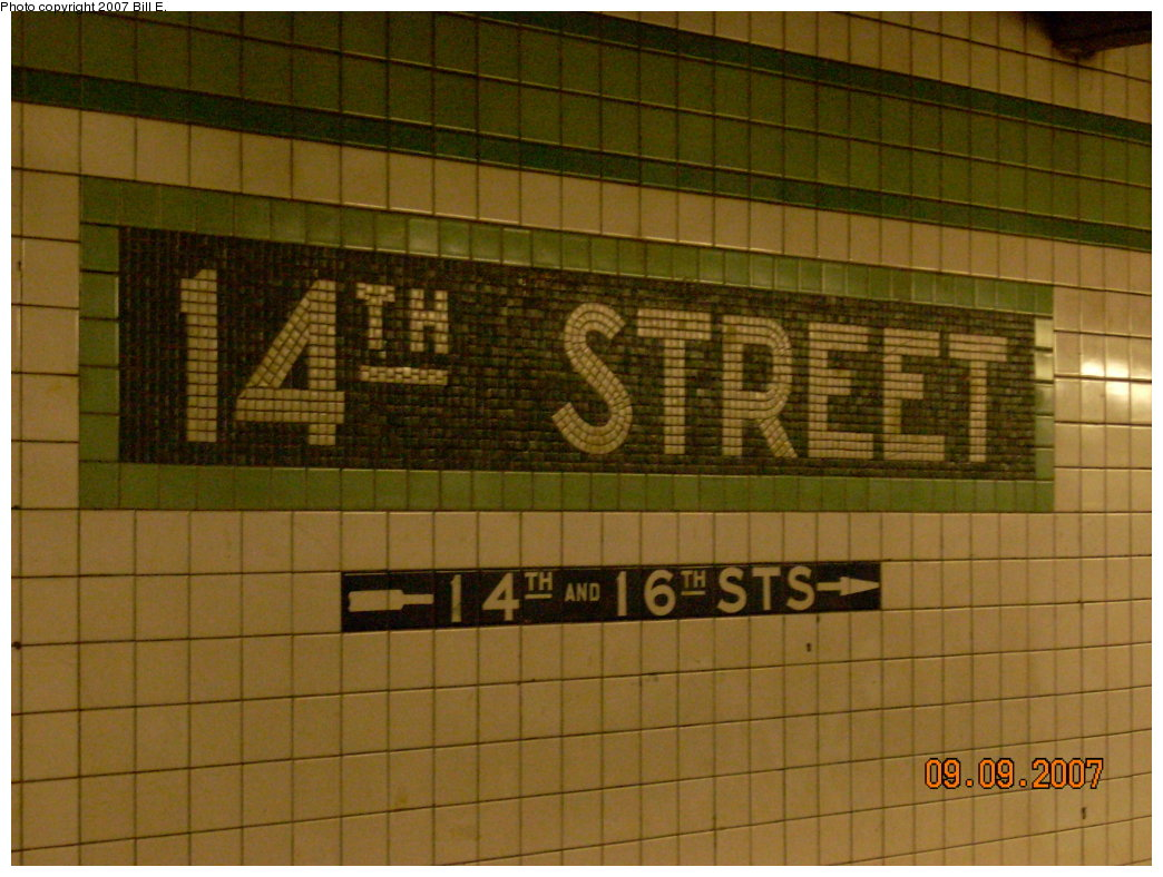 (203k, 1044x788)<br><b>Country:</b> United States<br><b>City:</b> New York<br><b>System:</b> New York City Transit<br><b>Line:</b> IND 6th Avenue Line<br><b>Location:</b> 14th Street <br><b>Photo by:</b> Bill E.<br><b>Date:</b> 9/9/2007<br><b>Viewed (this week/total):</b> 4 / 1436