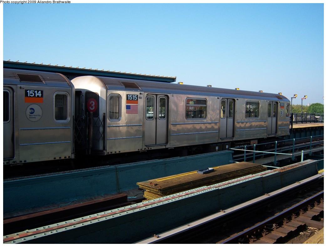 (204k, 1044x788)<br><b>Country:</b> United States<br><b>City:</b> New York<br><b>System:</b> New York City Transit<br><b>Line:</b> IRT Brooklyn Line<br><b>Location:</b> Van Siclen Avenue <br><b>Route:</b> 3<br><b>Car:</b> R-62 (Kawasaki, 1983-1985)  1515 <br><b>Photo by:</b> Aliandro Brathwaite<br><b>Date:</b> 8/15/2009<br><b>Viewed (this week/total):</b> 0 / 1400