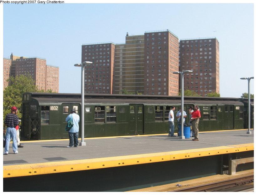(97k, 820x620)<br><b>Country:</b> United States<br><b>City:</b> New York<br><b>System:</b> New York City Transit<br><b>Location:</b> Coney Island/Stillwell Avenue<br><b>Route:</b> Fan Trip<br><b>Car:</b> R-9 (Pressed Steel, 1940)  1802 <br><b>Photo by:</b> Gary Chatterton<br><b>Date:</b> 9/8/2007<br><b>Viewed (this week/total):</b> 0 / 1871