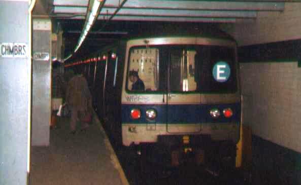 (55k, 593x365)<br><b>Country:</b> United States<br><b>City:</b> New York<br><b>System:</b> New York City Transit<br><b>Line:</b> IND 8th Avenue Line<br><b>Location:</b> Chambers Street/World Trade Center <br><b>Route:</b> E<br><b>Car:</b> R-46 (Pullman-Standard, 1974-75)  <br><b>Photo by:</b> Bob Wright<br><b>Date:</b> 3/1978<br><b>Viewed (this week/total):</b> 0 / 3191