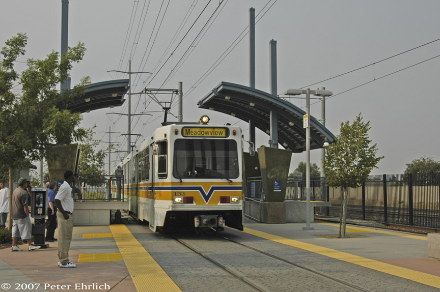 (175k, 864x574)<br><b>Country:</b> United States<br><b>City:</b> Sacramento, CA<br><b>System:</b> SACRT Light Rail<br><b>Location:</b> Meadowview <br><b>Car:</b> Sacramento Siemens LRV  133 <br><b>Photo by:</b> Peter Ehrlich<br><b>Date:</b> 9/5/2007<br><b>Notes:</b> Arriving Meadowview Station.<br><b>Viewed (this week/total):</b> 1 / 909