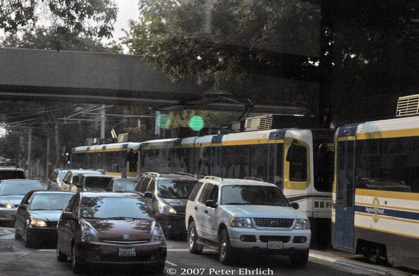 (209k, 864x569)<br><b>Country:</b> United States<br><b>City:</b> Sacramento, CA<br><b>System:</b> SACRT Light Rail<br><b>Location:</b> 8th & H <br><b>Car:</b> Sacramento CAF LRV  201+231 <br><b>Photo by:</b> Peter Ehrlich<br><b>Date:</b> 9/5/2007<br><b>Notes:</b> H Street/8th Street inbound.  View from 4th car of train.<br><b>Viewed (this week/total):</b> 1 / 951