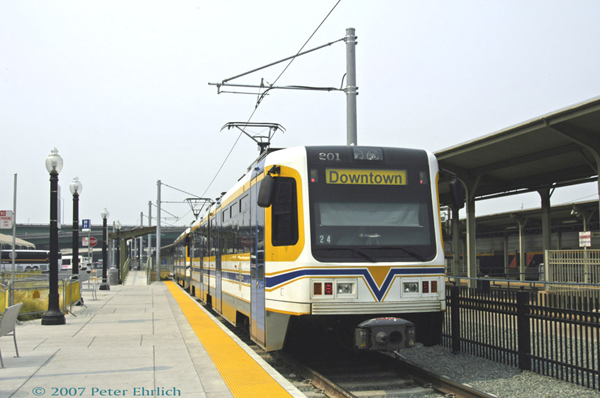 (161k, 864x574)<br><b>Country:</b> United States<br><b>City:</b> Sacramento, CA<br><b>System:</b> SACRT Light Rail<br><b>Location:</b> Sacramento Valley Station (Amtrak) <br><b>Car:</b> Sacramento CAF LRV  201 <br><b>Photo by:</b> Peter Ehrlich<br><b>Date:</b> 9/5/2007<br><b>Viewed (this week/total):</b> 0 / 832