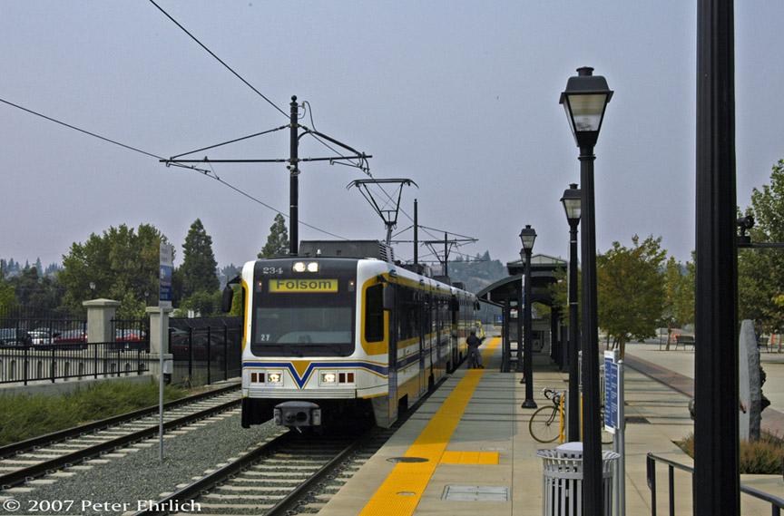 (175k, 864x569)<br><b>Country:</b> United States<br><b>City:</b> Sacramento, CA<br><b>System:</b> SACRT Light Rail<br><b>Location:</b> Folsom <br><b>Car:</b> Sacramento CAF LRV  234 <br><b>Photo by:</b> Peter Ehrlich<br><b>Date:</b> 9/5/2007<br><b>Notes:</b> Historic Folsom Station.<br><b>Viewed (this week/total):</b> 1 / 823