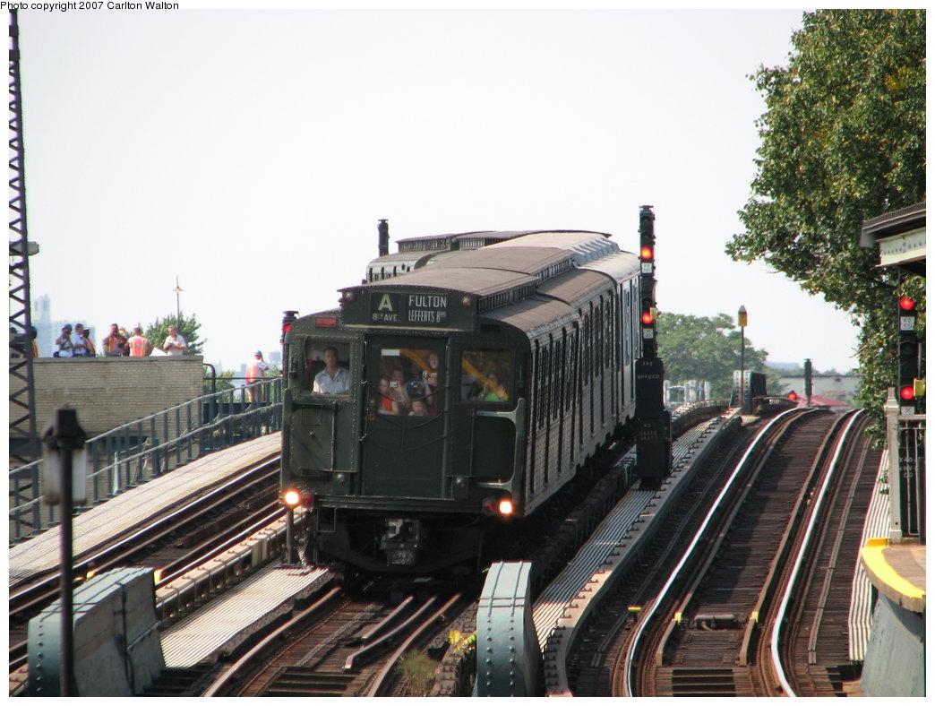 (190k, 1044x788)<br><b>Country:</b> United States<br><b>City:</b> New York<br><b>System:</b> New York City Transit<br><b>Line:</b> IND Fulton Street Line<br><b>Location:</b> 104th Street/Oxford Ave. <br><b>Route:</b> Fan Trip<br><b>Car:</b> R-1 (American Car & Foundry, 1930-1931) 100 <br><b>Photo by:</b> Carlton Walton<br><b>Date:</b> 9/8/2007<br><b>Viewed (this week/total):</b> 0 / 2386