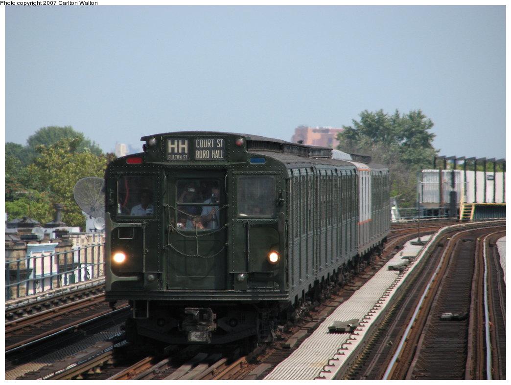 (156k, 1044x788)<br><b>Country:</b> United States<br><b>City:</b> New York<br><b>System:</b> New York City Transit<br><b>Line:</b> IND Fulton Street Line<br><b>Location:</b> 104th Street/Oxford Ave. <br><b>Route:</b> Fan Trip<br><b>Car:</b> R-9 (Pressed Steel, 1940)  1802 <br><b>Photo by:</b> Carlton Walton<br><b>Date:</b> 9/8/2007<br><b>Viewed (this week/total):</b> 0 / 2049