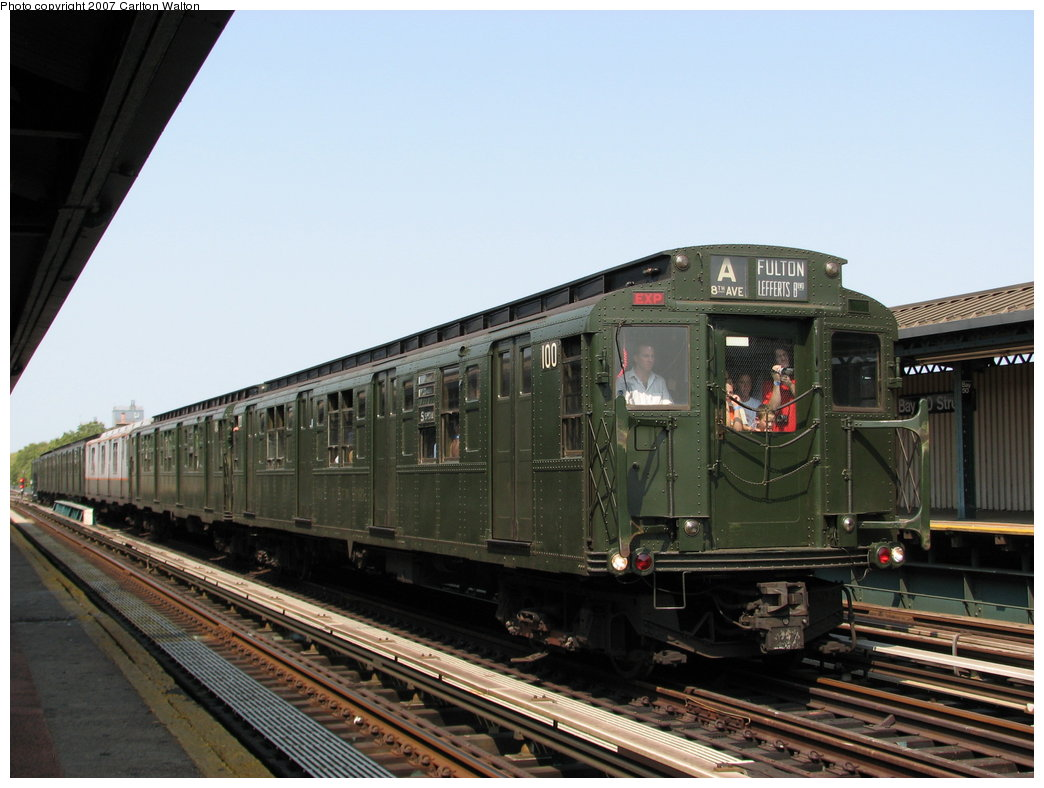 (158k, 1044x788)<br><b>Country:</b> United States<br><b>City:</b> New York<br><b>System:</b> New York City Transit<br><b>Line:</b> BMT West End Line<br><b>Location:</b> Bay 50th Street <br><b>Route:</b> Fan Trip<br><b>Car:</b> R-1 (American Car & Foundry, 1930-1931) 100 <br><b>Photo by:</b> Carlton Walton<br><b>Date:</b> 9/8/2007<br><b>Viewed (this week/total):</b> 1 / 1810