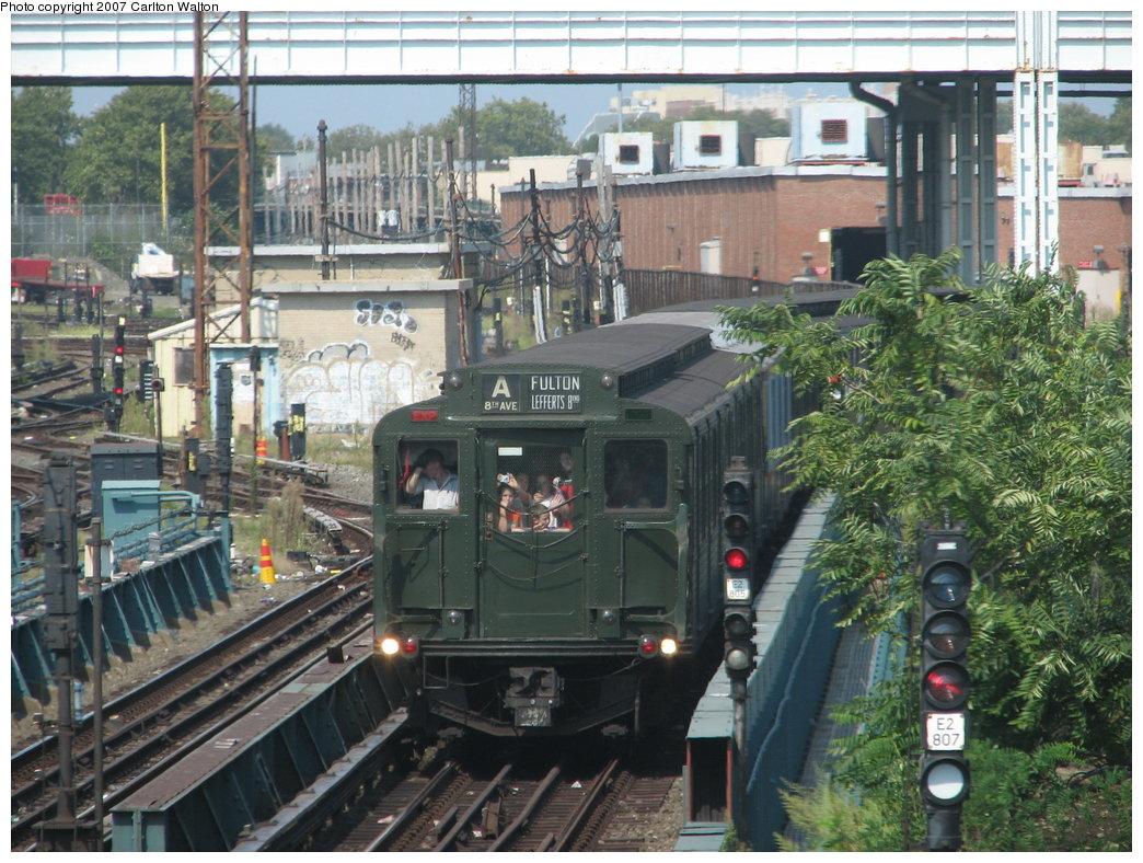 (235k, 1044x788)<br><b>Country:</b> United States<br><b>City:</b> New York<br><b>System:</b> New York City Transit<br><b>Location:</b> Coney Island/Stillwell Avenue<br><b>Route:</b> Fan Trip<br><b>Car:</b> R-1 (American Car & Foundry, 1930-1931) 100 <br><b>Photo by:</b> Carlton Walton<br><b>Date:</b> 9/8/2007<br><b>Viewed (this week/total):</b> 2 / 2390