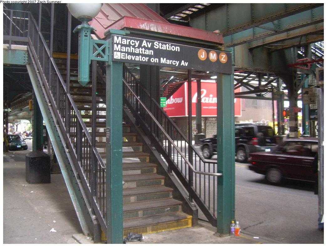 (222k, 1044x788)<br><b>Country:</b> United States<br><b>City:</b> New York<br><b>System:</b> New York City Transit<br><b>Line:</b> BMT Nassau Street/Jamaica Line<br><b>Location:</b> Marcy Avenue <br><b>Photo by:</b> Zach Summer<br><b>Date:</b> 9/5/2007<br><b>Notes:</b> Station entrance.<br><b>Viewed (this week/total):</b> 0 / 1988