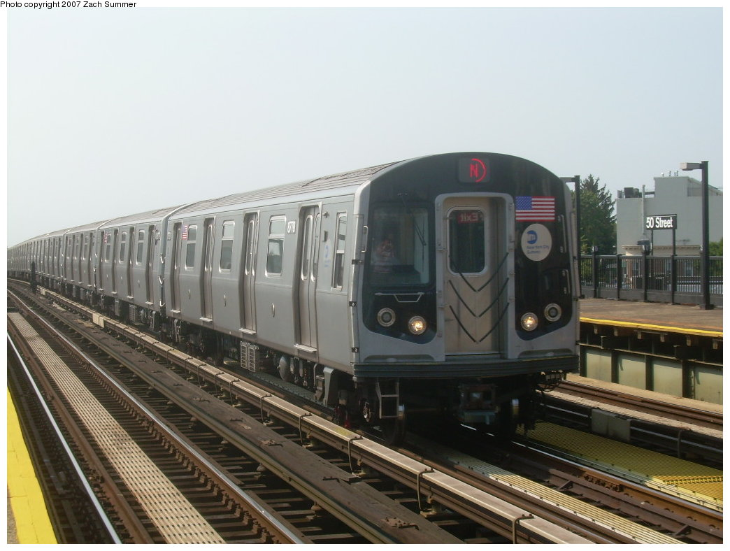 (186k, 1044x788)<br><b>Country:</b> United States<br><b>City:</b> New York<br><b>System:</b> New York City Transit<br><b>Line:</b> BMT West End Line<br><b>Location:</b> 50th Street <br><b>Route:</b> N<br><b>Car:</b> R-160B (Kawasaki, 2005-2008)  8778 <br><b>Photo by:</b> Zach Summer<br><b>Date:</b> 9/7/2007<br><b>Viewed (this week/total):</b> 0 / 2277