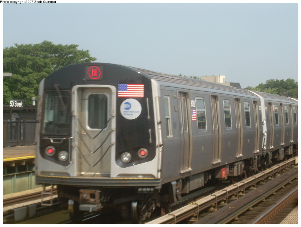 (158k, 1044x788)<br><b>Country:</b> United States<br><b>City:</b> New York<br><b>System:</b> New York City Transit<br><b>Line:</b> BMT West End Line<br><b>Location:</b> 50th Street <br><b>Route:</b> N<br><b>Car:</b> R-160B (Kawasaki, 2005-2008)  8732 <br><b>Photo by:</b> Zach Summer<br><b>Date:</b> 9/7/2007<br><b>Viewed (this week/total):</b> 1 / 1553