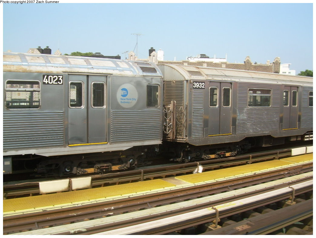 (211k, 1044x788)<br><b>Country:</b> United States<br><b>City:</b> New York<br><b>System:</b> New York City Transit<br><b>Line:</b> BMT West End Line<br><b>Location:</b> 50th Street <br><b>Route:</b> School car<br><b>Car:</b> R-32 (Budd, 1964)  3932 <br><b>Photo by:</b> Zach Summer<br><b>Date:</b> 9/7/2007<br><b>Notes:</b> With R38 4023<br><b>Viewed (this week/total):</b> 1 / 2465