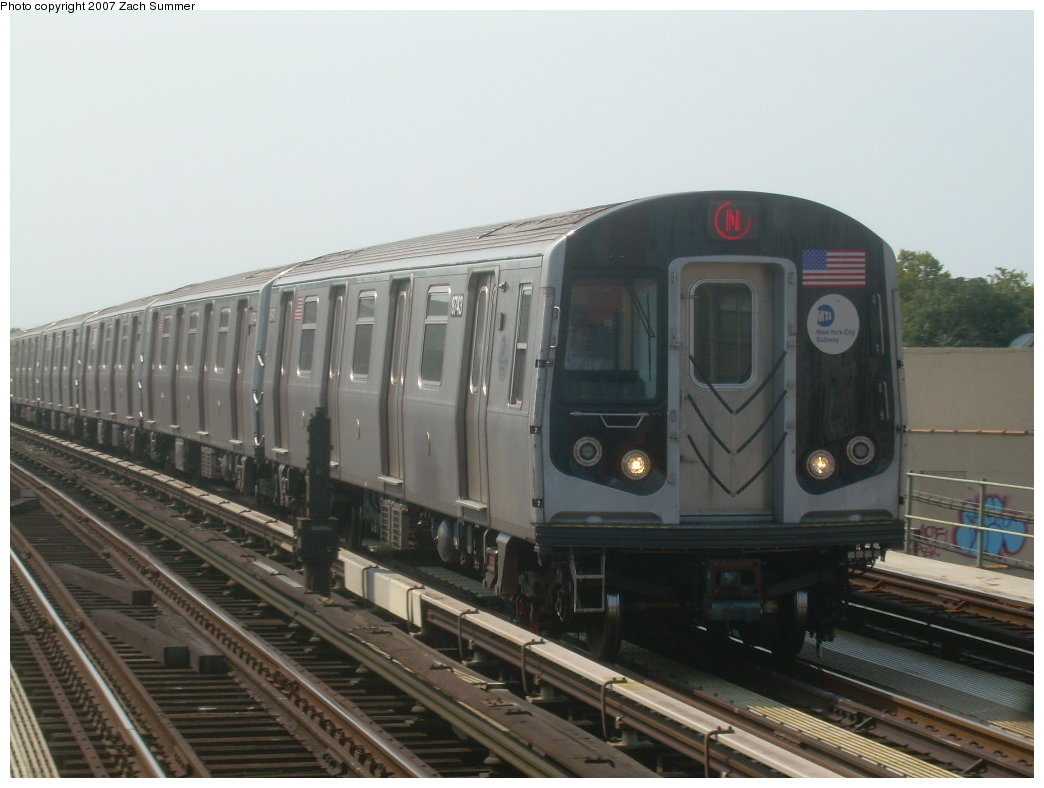 (165k, 1044x788)<br><b>Country:</b> United States<br><b>City:</b> New York<br><b>System:</b> New York City Transit<br><b>Line:</b> BMT West End Line<br><b>Location:</b> 50th Street <br><b>Route:</b> N<br><b>Car:</b> R-160B (Kawasaki, 2005-2008)  8743 <br><b>Photo by:</b> Zach Summer<br><b>Date:</b> 9/7/2007<br><b>Viewed (this week/total):</b> 0 / 1773