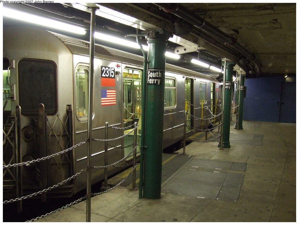 (173k, 1044x788)<br><b>Country:</b> United States<br><b>City:</b> New York<br><b>System:</b> New York City Transit<br><b>Line:</b> IRT West Side Line<br><b>Location:</b> South Ferry (Outer Loop Station) <br><b>Route:</b> 1<br><b>Car:</b> R-62A (Bombardier, 1984-1987)  2315 <br><b>Photo by:</b> John Barnes<br><b>Date:</b> 9/11/2007<br><b>Viewed (this week/total):</b> 0 / 2658