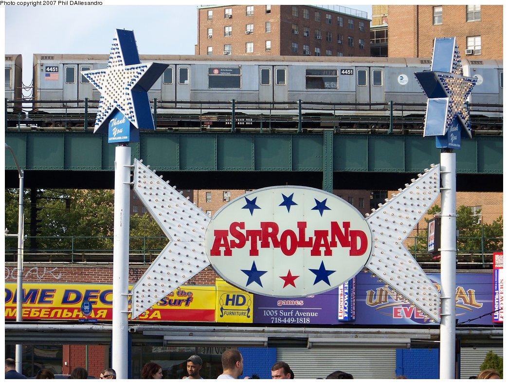 (251k, 1044x788)<br><b>Country:</b> United States<br><b>City:</b> New York<br><b>System:</b> New York City Transit<br><b>Location:</b> Coney Island/Stillwell Avenue<br><b>Route:</b> B<br><b>Car:</b> R-40M (St. Louis, 1969)  4451 <br><b>Photo by:</b> Philip D'Allesandro<br><b>Date:</b> 9/9/2007<br><b>Viewed (this week/total):</b> 1 / 2804