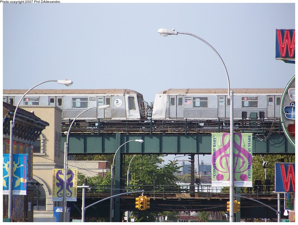 (195k, 1044x788)<br><b>Country:</b> United States<br><b>City:</b> New York<br><b>System:</b> New York City Transit<br><b>Location:</b> Coney Island/Stillwell Avenue<br><b>Route:</b> B<br><b>Car:</b> R-40 (St. Louis, 1968)  4309 <br><b>Photo by:</b> Philip D'Allesandro<br><b>Date:</b> 9/9/2007<br><b>Viewed (this week/total):</b> 1 / 3828