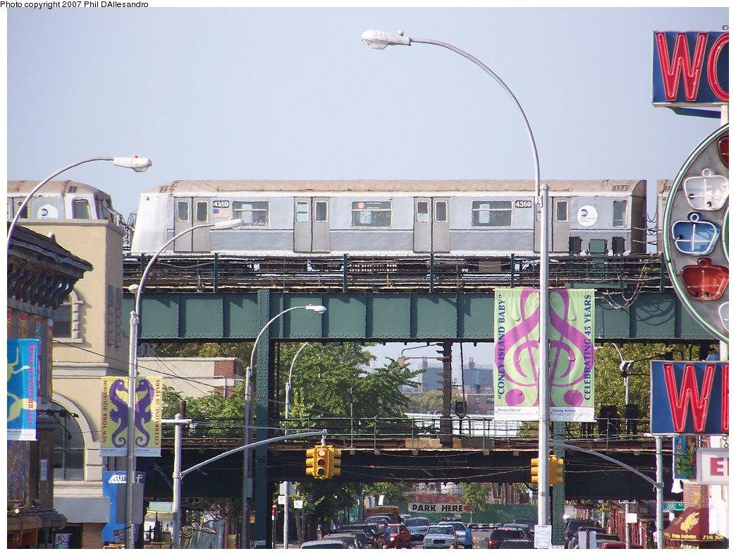 (218k, 1044x788)<br><b>Country:</b> United States<br><b>City:</b> New York<br><b>System:</b> New York City Transit<br><b>Location:</b> Coney Island/Stillwell Avenue<br><b>Route:</b> B<br><b>Car:</b> R-40 (St. Louis, 1968)  4359 <br><b>Photo by:</b> Philip D'Allesandro<br><b>Date:</b> 9/9/2007<br><b>Viewed (this week/total):</b> 3 / 2367