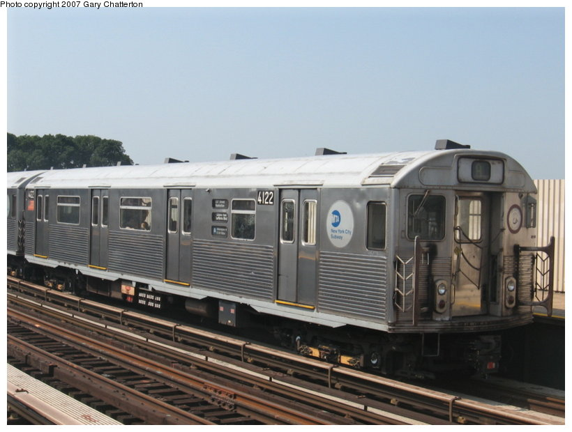 (94k, 820x620)<br><b>Country:</b> United States<br><b>City:</b> New York<br><b>System:</b> New York City Transit<br><b>Line:</b> IND Fulton Street Line<br><b>Location:</b> 104th Street/Oxford Ave. <br><b>Route:</b> A<br><b>Car:</b> R-38 (St. Louis, 1966-1967)  4122 <br><b>Photo by:</b> Gary Chatterton<br><b>Date:</b> 9/8/2007<br><b>Viewed (this week/total):</b> 0 / 1543