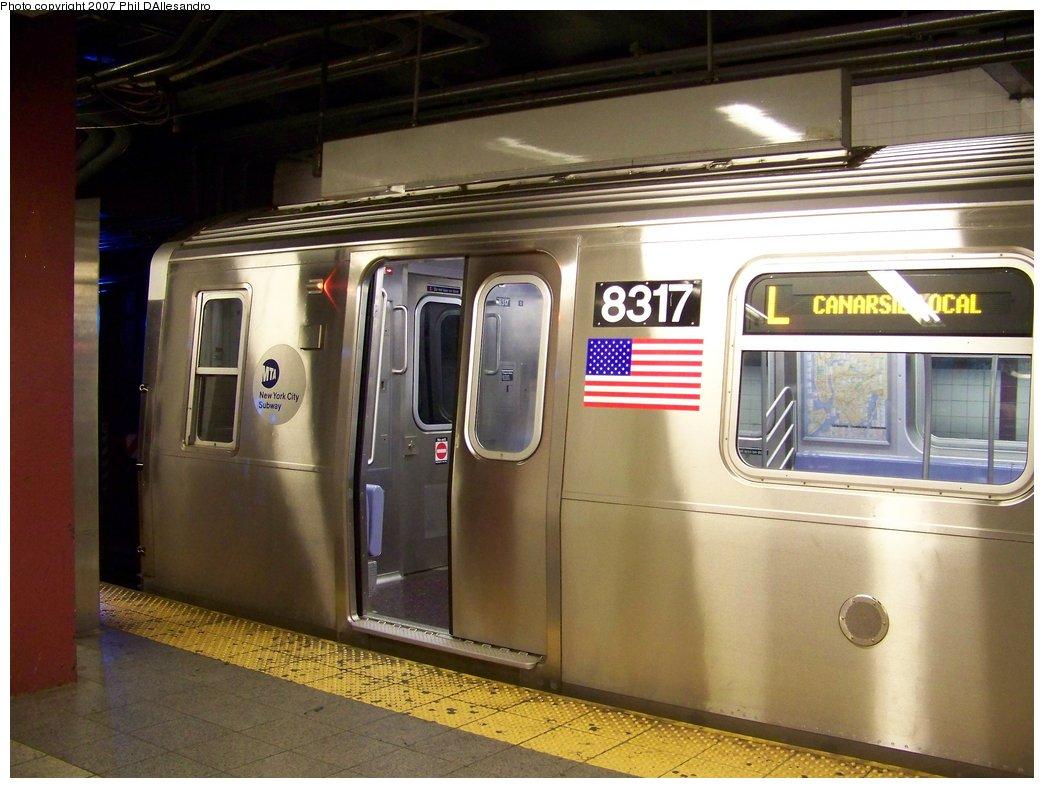 (165k, 1044x788)<br><b>Country:</b> United States<br><b>City:</b> New York<br><b>System:</b> New York City Transit<br><b>Line:</b> BMT Canarsie Line<br><b>Location:</b> 8th Avenue <br><b>Route:</b> L<br><b>Car:</b> R-160A-1 (Alstom, 2005-2008, 4 car sets)  8317 <br><b>Photo by:</b> Philip D'Allesandro<br><b>Date:</b> 9/13/2007<br><b>Viewed (this week/total):</b> 0 / 3465