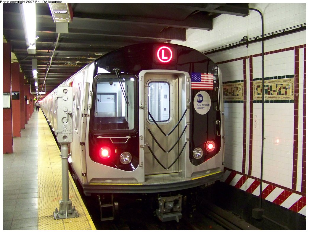 (193k, 1044x788)<br><b>Country:</b> United States<br><b>City:</b> New York<br><b>System:</b> New York City Transit<br><b>Line:</b> BMT Canarsie Line<br><b>Location:</b> 8th Avenue <br><b>Route:</b> L<br><b>Car:</b> R-160A-1 (Alstom, 2005-2008, 4 car sets)  8360 <br><b>Photo by:</b> Philip D'Allesandro<br><b>Date:</b> 9/13/2007<br><b>Viewed (this week/total):</b> 1 / 2884