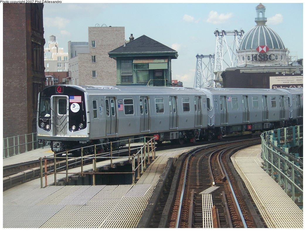 (240k, 1044x788)<br><b>Country:</b> United States<br><b>City:</b> New York<br><b>System:</b> New York City Transit<br><b>Line:</b> BMT Nassau Street/Jamaica Line<br><b>Location:</b> Marcy Avenue <br><b>Route:</b> Testing<br><b>Car:</b> R-160A-1 (Alstom, 2005-2008, 4 car sets)  8373 <br><b>Photo by:</b> Philip D'Allesandro<br><b>Date:</b> 9/13/2007<br><b>Viewed (this week/total):</b> 0 / 4159