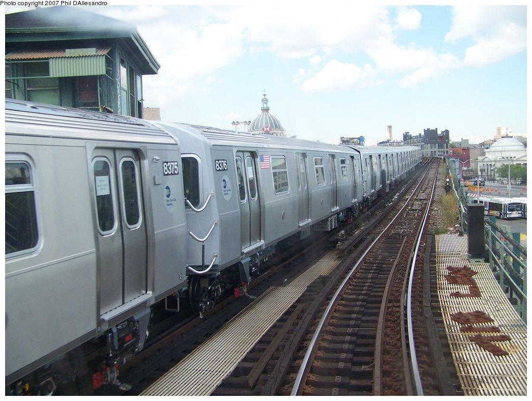 (182k, 1044x788)<br><b>Country:</b> United States<br><b>City:</b> New York<br><b>System:</b> New York City Transit<br><b>Line:</b> BMT Nassau Street/Jamaica Line<br><b>Location:</b> Marcy Avenue <br><b>Route:</b> Testing<br><b>Car:</b> R-160A-1 (Alstom, 2005-2008, 4 car sets)  8376 <br><b>Photo by:</b> Philip D'Allesandro<br><b>Date:</b> 9/13/2007<br><b>Viewed (this week/total):</b> 0 / 3076