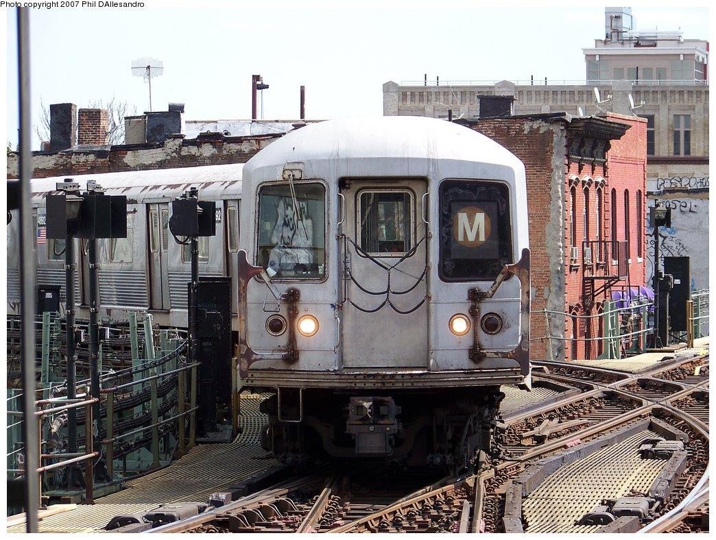 (255k, 1044x788)<br><b>Country:</b> United States<br><b>City:</b> New York<br><b>System:</b> New York City Transit<br><b>Line:</b> BMT Nassau Street/Jamaica Line<br><b>Location:</b> Myrtle Avenue <br><b>Route:</b> M<br><b>Car:</b> R-42 (St. Louis, 1969-1970)  4893 <br><b>Photo by:</b> Philip D'Allesandro<br><b>Date:</b> 9/13/2007<br><b>Viewed (this week/total):</b> 1 / 2047
