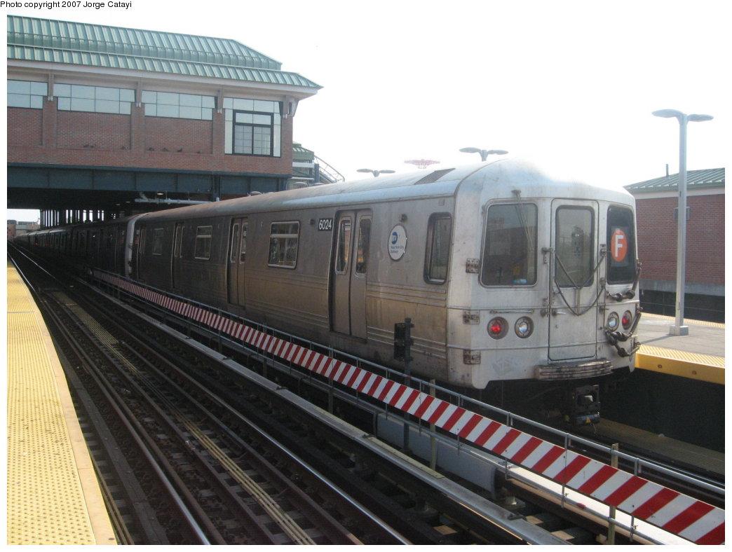 (155k, 1044x788)<br><b>Country:</b> United States<br><b>City:</b> New York<br><b>System:</b> New York City Transit<br><b>Location:</b> Coney Island/Stillwell Avenue<br><b>Route:</b> F<br><b>Car:</b> R-46 (Pullman-Standard, 1974-75) 6024 <br><b>Photo by:</b> Jorge Catayi<br><b>Date:</b> 9/8/2007<br><b>Viewed (this week/total):</b> 0 / 1659