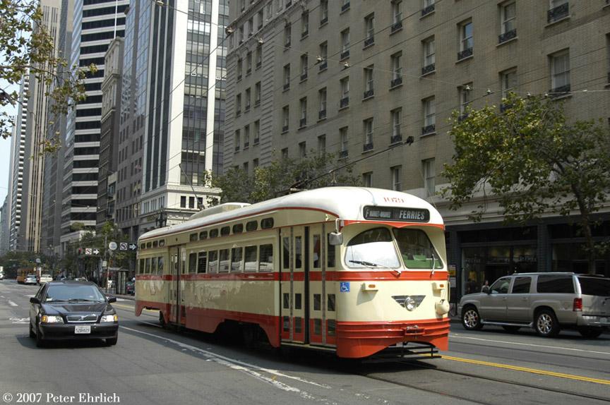 (213k, 864x574)<br><b>Country:</b> United States<br><b>City:</b> San Francisco/Bay Area, CA<br><b>System:</b> SF MUNI<br><b>Location:</b> Market/3rd/Geary/Kearny <br><b>Car:</b> SF MUNI PCC (Ex-NJTransit, Ex-Twin City) (St. Louis Car Co., 1946-1947)  1079 <br><b>Photo by:</b> Peter Ehrlich<br><b>Date:</b> 9/6/2007<br><b>Notes:</b> Approaching Market/3rd Street outbound.<br><b>Viewed (this week/total):</b> 1 / 1105