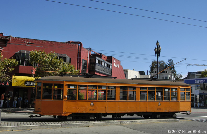 (173k, 864x563)<br><b>Country:</b> United States<br><b>City:</b> San Francisco/Bay Area, CA<br><b>System:</b> SF MUNI<br><b>Location:</b> Market/17th/Castro <br><b>Car:</b> Milan Milano/Peter Witt (1927-1930)  1859 <br><b>Photo by:</b> Peter Ehrlich<br><b>Date:</b> 9/3/2007<br><b>Notes:</b> Market/Castro, after leaving terminal.<br><b>Viewed (this week/total):</b> 0 / 509