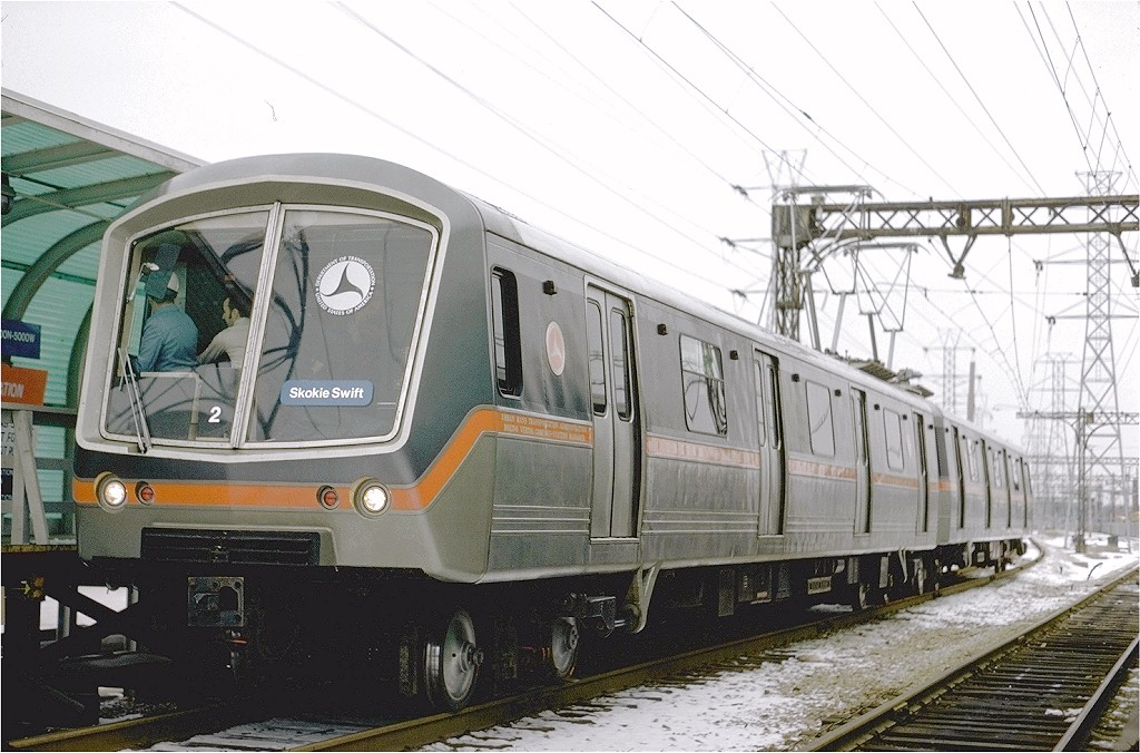 (204k, 1024x676)<br><b>Country:</b> United States<br><b>City:</b> Chicago, IL<br><b>System:</b> Chicago Transit Authority <br><b>Line:</b> CTA Yellow (Skokie)<br><b>Location:</b> Dempster <br><b>Car:</b> SOAC 2 <br><b>Photo by:</b> Arthur Peterson<br><b>Collection of:</b> Joe Testagrose<br><b>Date:</b> 1/19/1975<br><b>Viewed (this week/total):</b> 0 / 2684